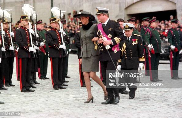Prince Philippe of Belgium and Mathilde d'Udekem wedding in Brussels Belgium on December 13 1999 Laurent of Belgium with Mathilde's sister at the...