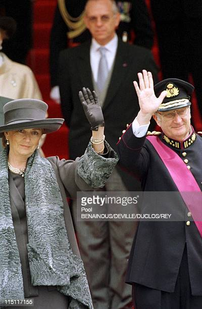 Prince Philippe of Belgium and Mathilde d'Udekem wedding in Brussels Belgium on December 13 1999 King Albert II and Queen Paola