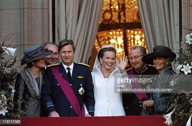 Prince Philippe of Belgium and Mathilde d'Udekem wedding in Brussels Belgium on December 13 1999 At the City Hall