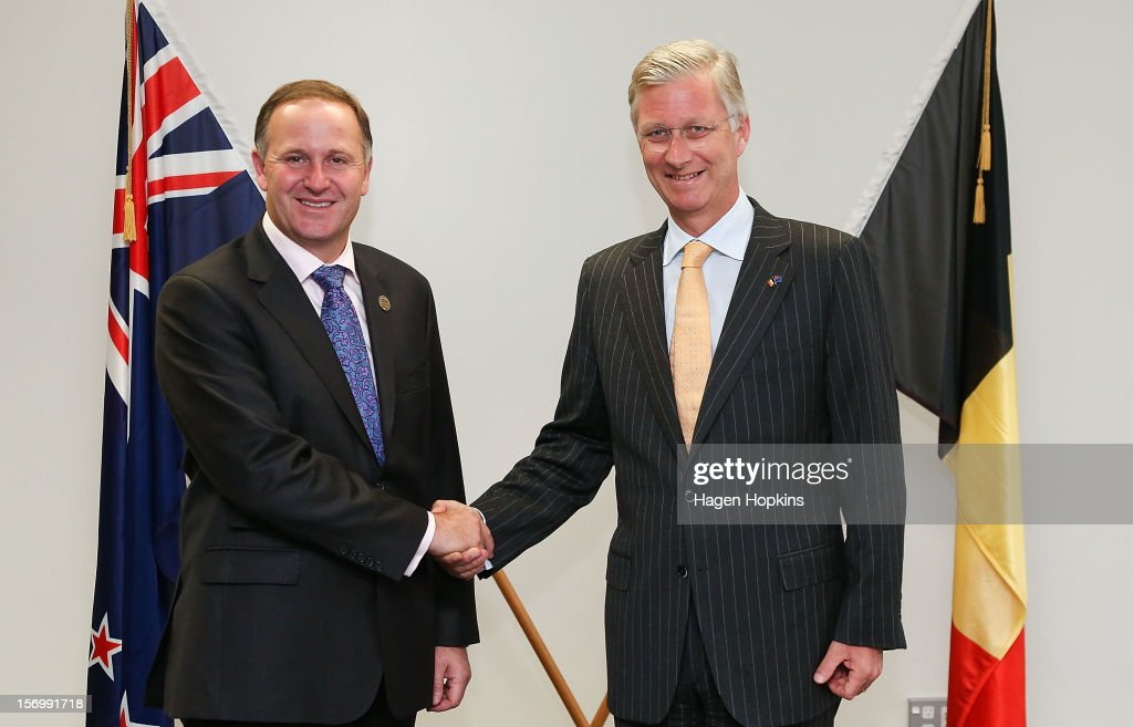 Prince Philippe Of Belgium (R) and New Zealand Prime Minister <a gi-track='captionPersonalityLinkClicked' href=/galleries/search?phrase=John+Key&family=editorial&specificpeople=2246670 ng-click='$event.stopPropagation()'>John Key</a> meet at The Beehive on November 27, 2012 in Wellington, New Zealand. Prince Philippe is on a three-day visit to New Zealand that will take him to Wellington and Auckland.