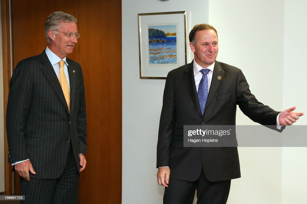 Prince Philippe Of Belgium (L) and New Zealand Prime Minister <a gi-track='captionPersonalityLinkClicked' href=/galleries/search?phrase=John+Key&family=editorial&specificpeople=2246670 ng-click='$event.stopPropagation()'>John Key</a> meet at The Beehive on November 27, 2012 in Wellington, New Zealand. Prince Philippe is on a three-day visit to New Zealand that will take him to Wellington and Auckland.