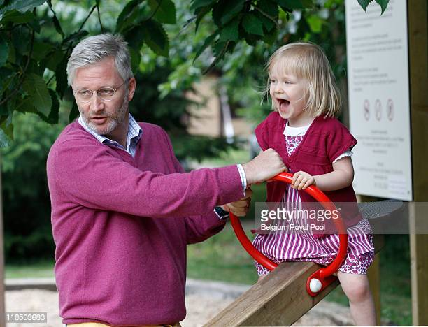 Prince Philippe of Belgium and Princess Eleonore of Belgium photographed at the educational centre 'Archeosite' on July 8 2011 in Aubechies Belgium