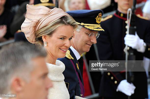 Prince Philippe of Belgium and Princess Mathilde of Belgium are seen in front of the Cathedral of St Michael and Saint Gudula prior to the Abdication...