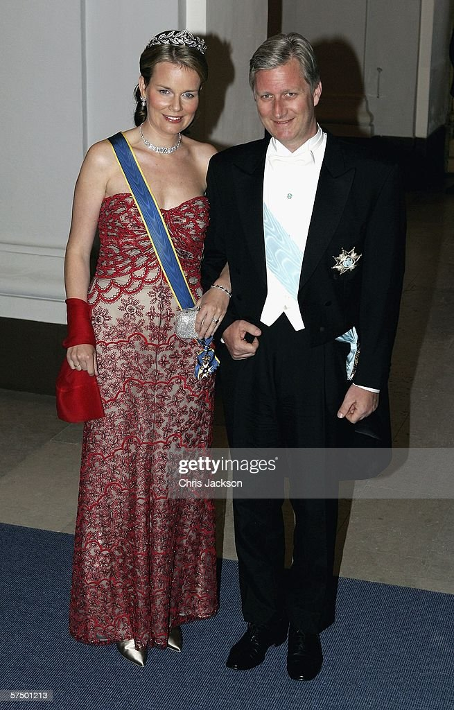 Prince Philippe of Belgium and Princess Mathilde of Belgium arrive for the Gala Dinner at Royal Palace to celebrate King Carl XVI Gustaf of Swedens 60th Birthday on April 30, 2006 in Stockholm, Sweden.