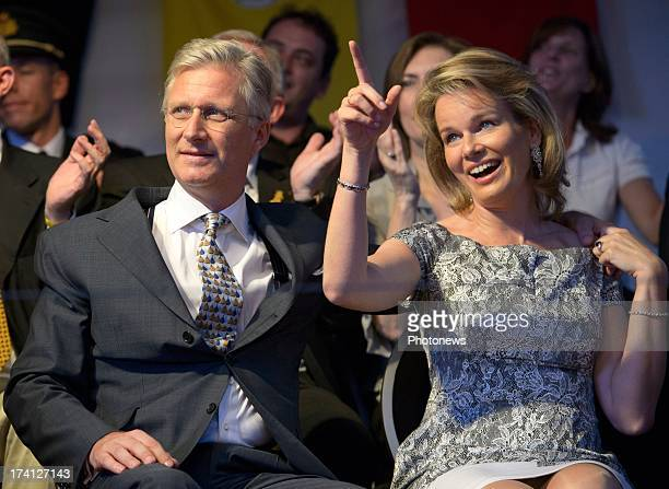 Prince Philippe of Belgium and Princess Mathilde of Belgium attend an evening of concerts the 'Bal National' in the Marolles neighbourhood of...