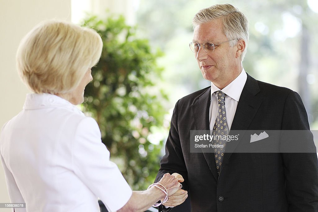 Prince Philippe of Belgium greets Ms <a gi-track='captionPersonalityLinkClicked' href=/galleries/search?phrase=Quentin+Bryce&family=editorial&specificpeople=2602196 ng-click='$event.stopPropagation()'>Quentin Bryce</a>, Governor-General of the Commonwealth of Australia, on arrival at Government House on November 23, 2012 in Canberra, Australia. Prince Philippe is on a ten-day tour of Australia that will take him to Perth, Sydney, Canberra and Melbourne.