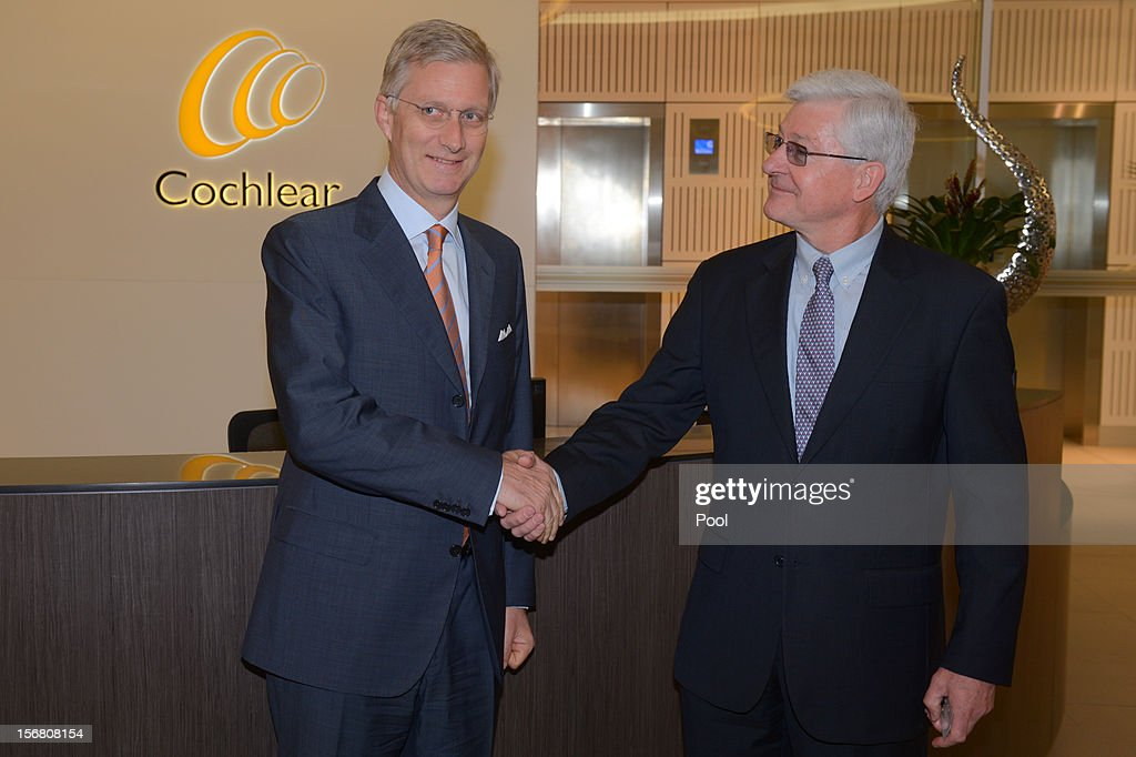 Prince <a gi-track='captionPersonalityLinkClicked' href=/galleries/search?phrase=Philippe+of+Belgium&family=editorial&specificpeople=160209 ng-click='$event.stopPropagation()'>Philippe of Belgium</a> is greeted by Cochlear CEO Dr. Chris Roberts during a tour of Cochlear on November 22, 2012 in Sydney, Australia. Prince Philippe is on a ten-day tour of Australia that will take him to Perth, Sydney, Canberra and Melbourne.