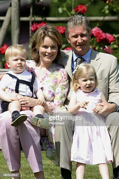 Prince Philippe of Belgium Princess Mathilde Princess Elisabeth and Prince Gabriel on June 22 2005 in Brussels Belgium