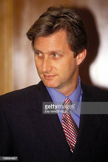 Prince Philippe of Belgium received by King Juan Carlos of Spain in Madrid Spain on January 10th 1996