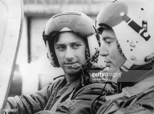 Prince Philippe of Belgium seen here on a training flight with his instructor Michel Audrit as he trains as a pupil at the Pilot School of the...