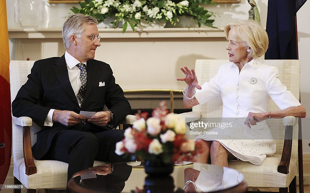 Prince Philippe of Belgium speaks with Ms <a gi-track='captionPersonalityLinkClicked' href=/galleries/search?phrase=Quentin+Bryce&family=editorial&specificpeople=2602196 ng-click='$event.stopPropagation()'>Quentin Bryce</a>, Governor-General of the Commonwealth of Australia, during a visit to Government House on November 23, 2012 in Canberra, Australia. Prince Philippe is on a ten-day tour of Australia that will take him to Perth, Sydney, Canberra and Melbourne.