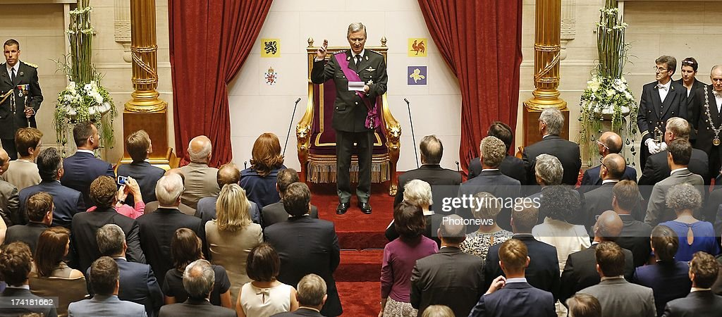 Prince Philippe of Belgium takes his oath following the abdication of his father King Albert II of Belgium at the Chamber at the Federal Parliament on July 21, 2013 in Brussels, Belgium. King Albert II of Belgium has abdicated in favour of his son after a twenty year reign.