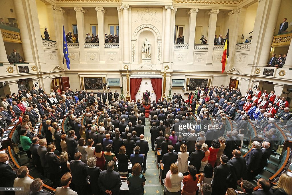 Prince Philippe of Belgium takes his oath following the abdication of his father King Albert II of Belgium at the Chamber at the Federal Parliament...