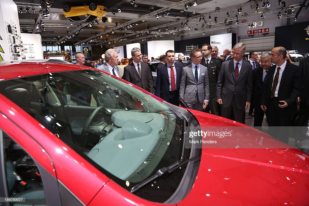 Prince Philippe of Belgium visits the 91st edition of the European Motor Show at Brussels Expo on January 10, 2013 in Brussels, Belgium.