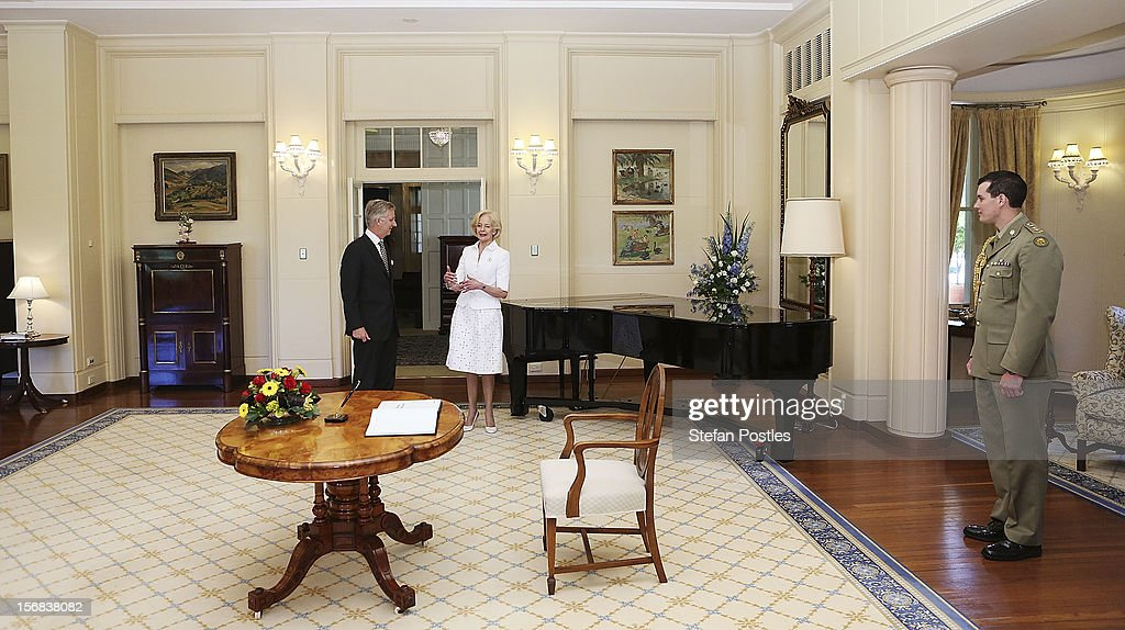 Prince Philippe of Belgium visits with Ms <a gi-track='captionPersonalityLinkClicked' href=/galleries/search?phrase=Quentin+Bryce&family=editorial&specificpeople=2602196 ng-click='$event.stopPropagation()'>Quentin Bryce</a>, Governor-General of the Commonwealth of Australia, at Government House on November 23, 2012 in Canberra, Australia. Prince Philippe is on a ten-day tour of Australia that will take him to Perth, Sydney, Canberra and Melbourne.