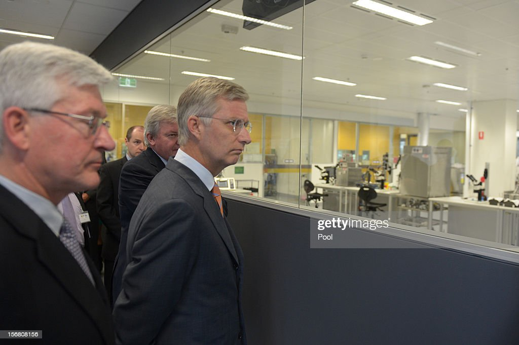 Prince <a gi-track='captionPersonalityLinkClicked' href=/galleries/search?phrase=Philippe+of+Belgium&family=editorial&specificpeople=160209 ng-click='$event.stopPropagation()'>Philippe of Belgium</a> (C) with Cochlear CEO Dr. Chris Roberts (right) during a tour of Cochlear on November 22, 2012 in Sydney, Australia. Prince Philippe is on a ten-day tour of Australia that will take him to Perth, Sydney, Canberra and Melbourne.
