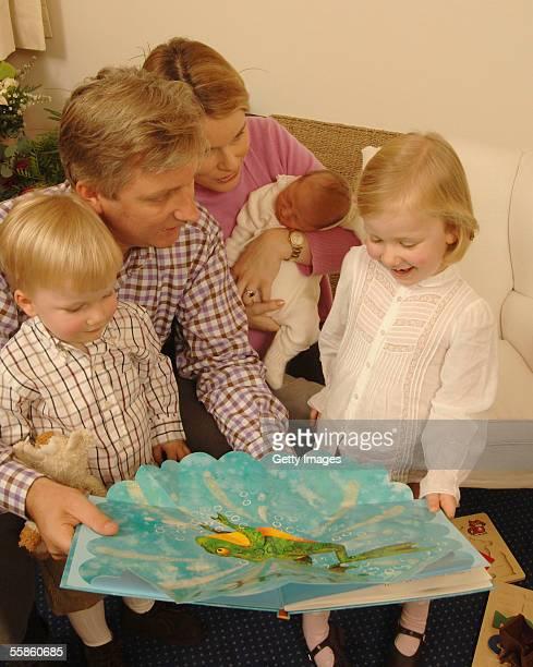 Prince Philippe Princess Mathilde Princess Elisabeth Prince Gabriel and Prince Emmanuel pose for the official photo of Prince Emmanuel Leopold...