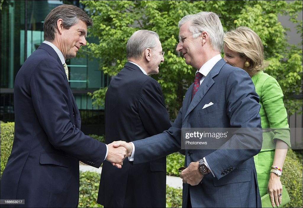 Prince Philippe shakes hands with BOIC president Pierre-Olivier Bekcers during a visit to the headquarters of the IOC on May 13, 2013 in Lausanne, Switzerland.