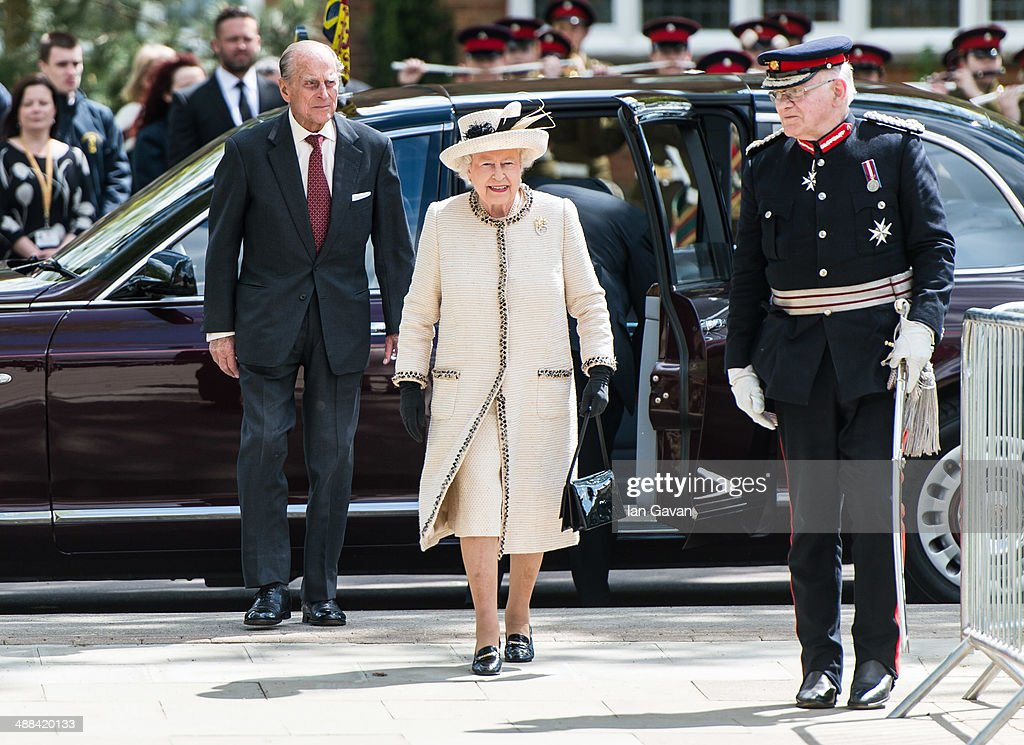 Prince Phillip, Duke of Edinburgh and Queen <a gi-track='captionPersonalityLinkClicked' href=/galleries/search?phrase=Elizabeth+II&family=editorial&specificpeople=67226 ng-click='$event.stopPropagation()'>Elizabeth II</a> arrive for an official visit to Felsted School on May 6, 2014 in Felsted, England. Her Majesty unveiled two plaques to commemorate the School's 450th anniversary and completion of a new boarding house.