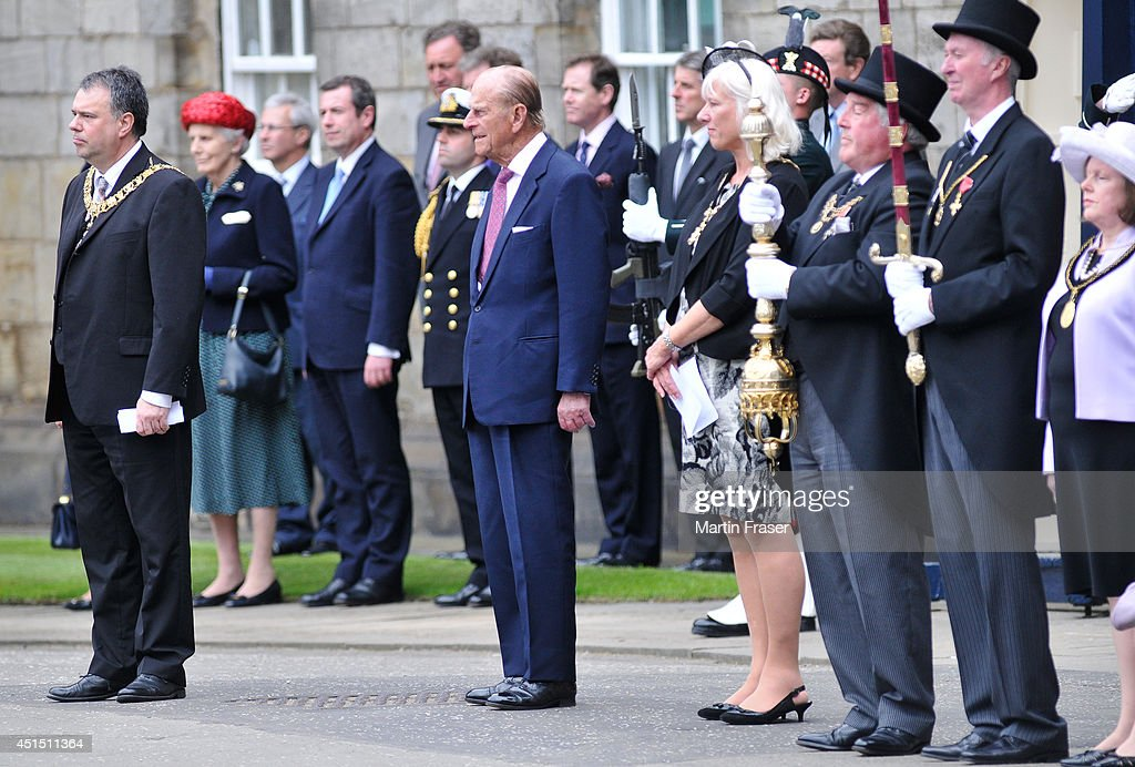 Prince Phillip, Duke of Edinburgh attends the Ceremony of The Keys, with the 2nd Battallion Royal Regiment of Scotland as Guard of Honour at The Palace Of Holyroodhouse on June 30, 2014 in Edinburgh, Scotland.