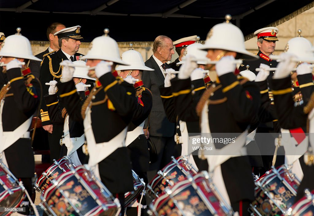 Prince Phillip, Duke of Edinburgh during the ceremony of Beating Retreat performed by the Massed Bands of the Royal Marines at Horse Guards on May 26, 2016 in London, England.