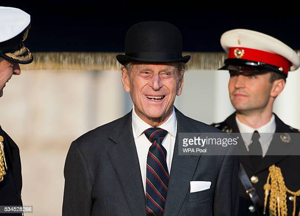 Prince Phillip Duke of Edinburgh during the ceremony of Beating Retreat performed by the Massed Bands of the Royal Marines at Horse Guards on May 26...