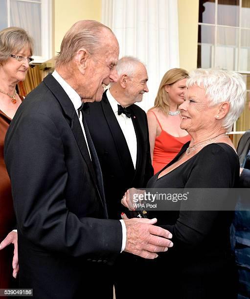 Prince Phillip the Duke of Edinburgh and Dame Judi Dench attend a Gala Evening marking the 60th anniversary of The Duke of Edinburgh's Award at Stoke...