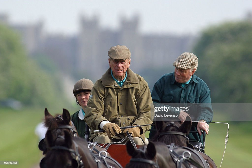 Prince Phillip, The Duke of Edinburgh competes in the carriage driving on the third day of the Royal Windsor Horse Show at Home Park on May 15, 2004 in Windsor, England.