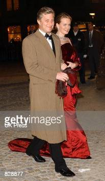 Prince Phillipe and Princess Mathilde of Belgium attend a dinner and party at the Royal Palace in honor of the wedding of Dutch Crown Prince...