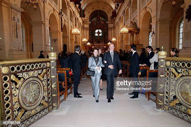 Prince Pierre d'Arenberg and Sylvie d'Arenberg Berggruen attend the mass given in memory of the 100 year anniversary of Prince Ernest Charles...