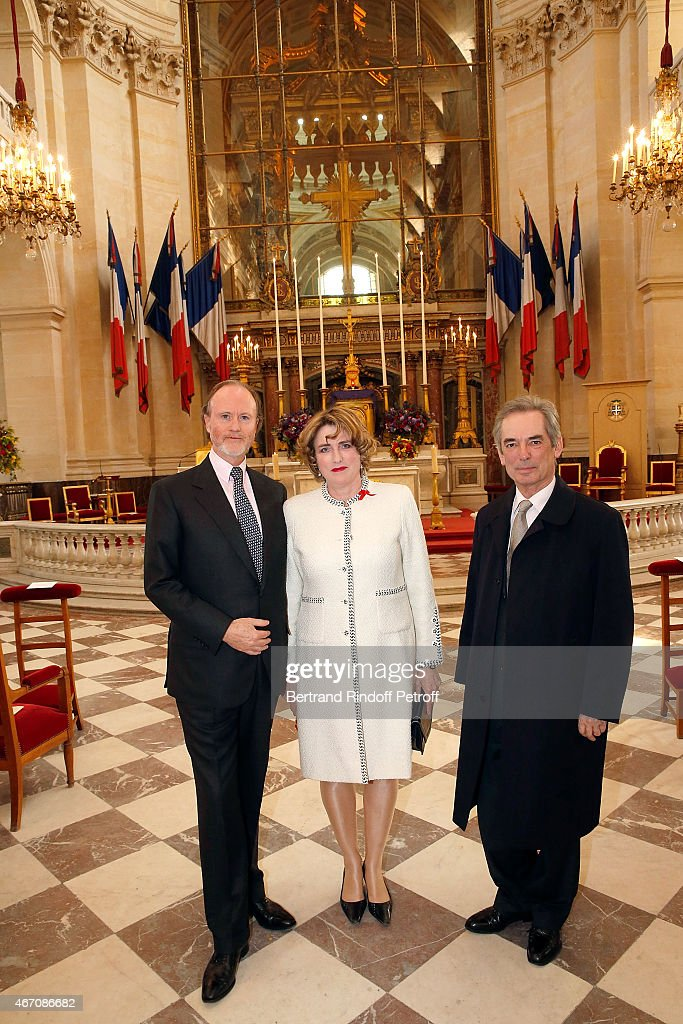 Prince Pierre D'Arenberg, Duchess and Duc D'Estissac attend the mass given in memory of the 100 year anniversary of Prince Ernest Charles D'Arenberg's death in the First World War at Les Invalides on March 20, 2015 in Paris, France.