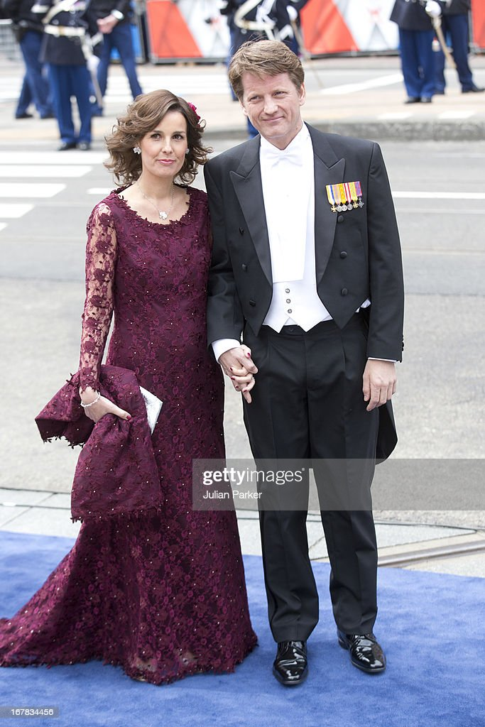 Prince Pieter Christiaan, and Princess Anita of the Netherlands, arrive at the Nieuwe Kerk in Amsterdam for the inauguration ceremony of King Willem Alexander of the Netherlands, on April 30, 2013 in Amsterdam, Netherlands.