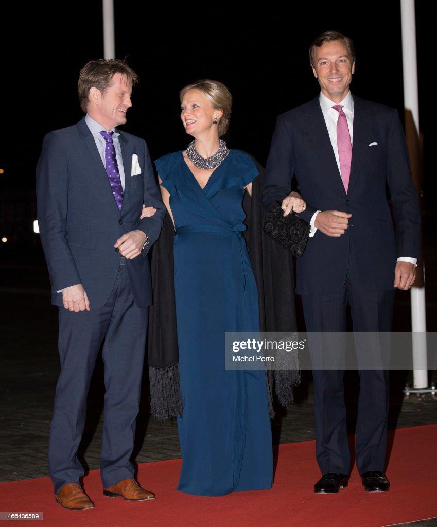 Prince Pieter Christiaan of The Netherlands, Princess Carolina de Bourbon de Parme and Albert Brenninkmeijer attend a celebration of the reign of Princess Beatrix on February 1, 2014 in Rotterdam, Netherlands.