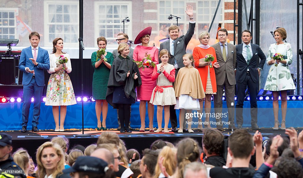 Prince Pieter Christiaan, Princess Anita, Princess Annette, Prince Bernhard jr, Crown Princess Amalia, Queen Maxima, Princess Alexia, King Willem-Alexander, Princess Ariane, Princess Laurentien, Prince Constantijn, Prince Maurits and Princess Marilene of The Netherlands participate in King's Day celebrations on April 27, 2015 in Dordrecht, Netherlands.