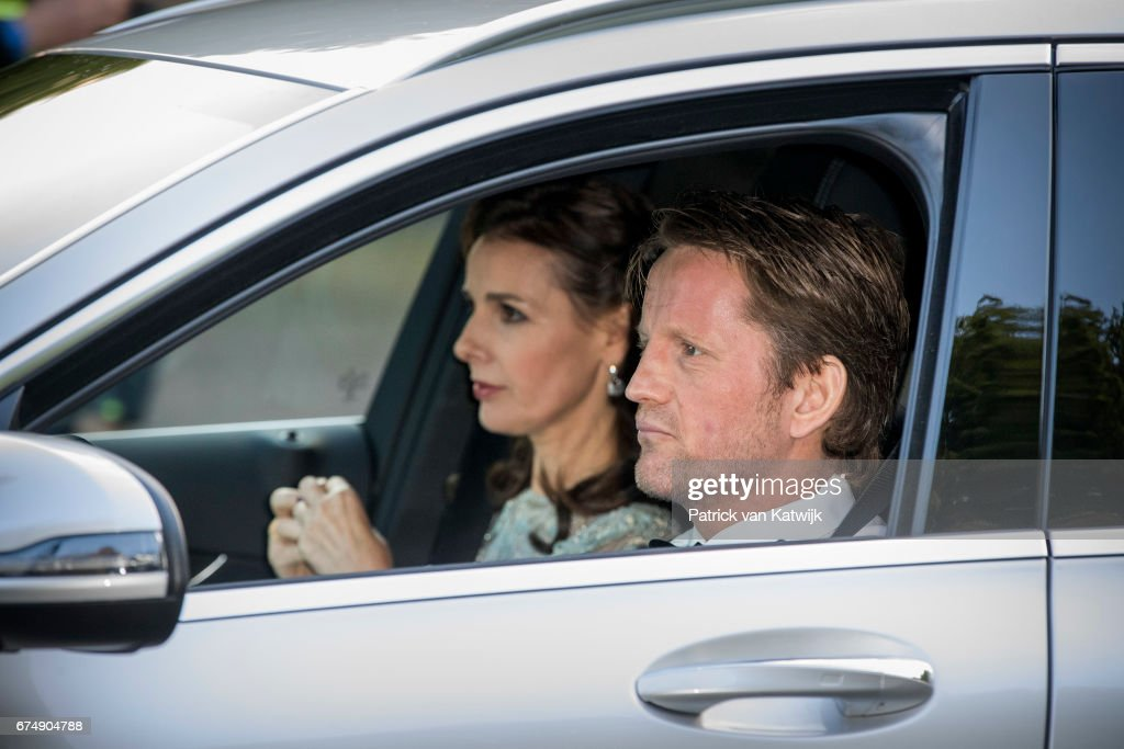 Prince Pieter-Christiaan and Princess Anita of The Netherlands arrive at Palace Noordeinde for an private birthday party for King Willem-Alexander in the Royal Stables on April 29, 2017 in The Hague, Netherlands.