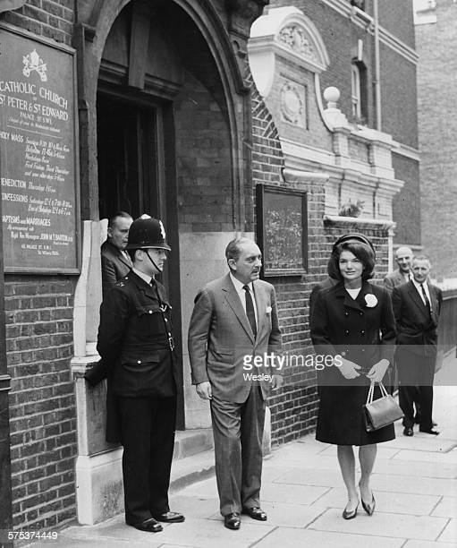 Prince Radziwill and his sisterinlaw Jacqueline Kennedy the widow of former US President John F Kennedy leaving St Peter and St Edward Catholic...