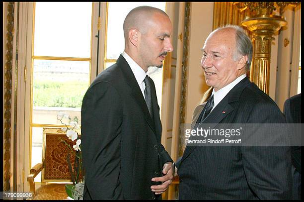 Prince Rahim Aga Khan with father Prince Karim Aga Khan at Christine Albanel Presents The 'Grand Patron' And 'Grand Donor' Award To His Highness The...