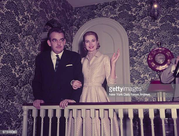 Prince Rainer III of Monaco and Grace Kelly after their engagement was announced at the Kelly home