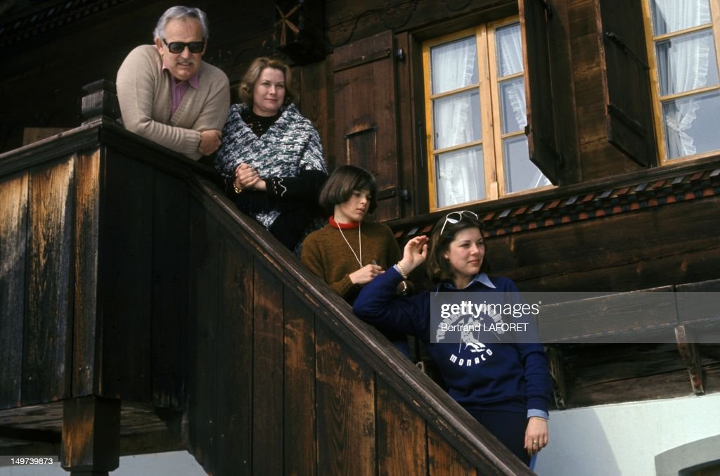 Prince Rainier and Princess Grace of Monaco with their daughters Stephanie and Caroline on February 27 1977 in Gstaad Switzerland