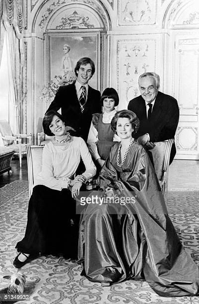 Prince Rainier III of Monaco his wife Princess Grace and their children Prince Albert Princess Caroline and Princess Stephanie pose for a family...