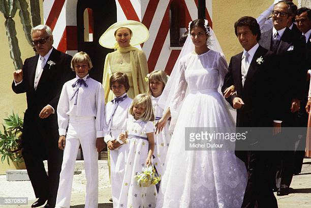 Prince Rainier III of Monaco waiting at the front of the palace for the wedding of his daughter Princess Caroline to Philippe Junot on June 28 in...