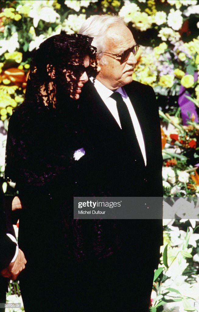Prince Rainier III of Monaco with daughter Princess Caroline at her husband Stefano Casiraghi funeral in October 1990 in Monte Carlo, Monaco.