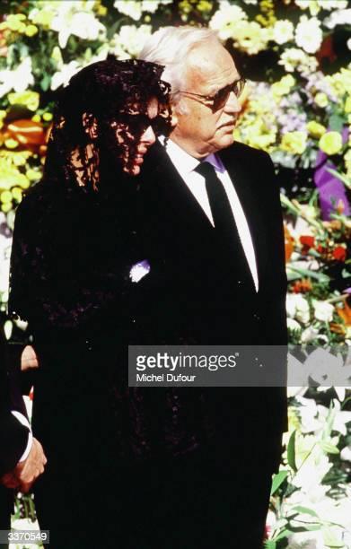 Prince Rainier III of Monaco with daughter Princess Caroline at her husband Stefano Casiraghi funeral in October 1990 in Monte Carlo Monaco