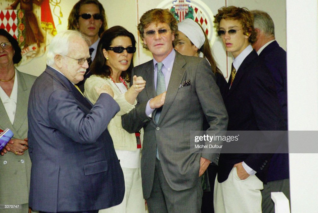 Prince Rainier III of Monaco with daughter Princess of Hanover Caroline and husband Ernst August, behind sons Andrea and Pierre at the Monaco Formula One Grand Prix held on June 1, 2003 in Monte Carlo, Monaco.