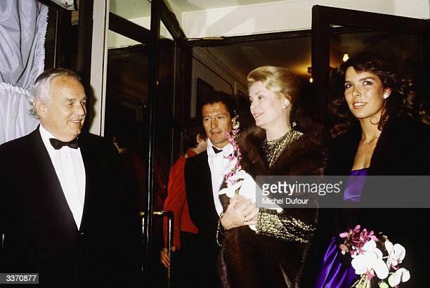 Prince Rainier III of Monaco with Princess Grace Kelly and Philippe Junot outside Maxim's in 1979 in Paris France