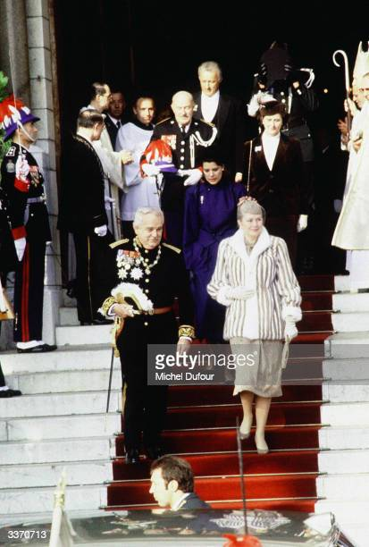 Prince Rainier III of Monaco with wife Princess Grace Kelly and daughter Princess Caroline outside the cathedral after mass celebrating...