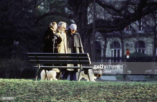 Prince Rainier III of Monaco with wife Princess Grace Kelly and daughter Princess Caroline with their dogs take a walk at Avenue Foch in 1978 in...