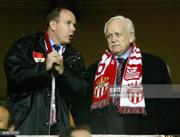 Prince Rainier of Monaco and his son Prince Albert during the UEFA Champions League semi final 1st leg match at the Stade Louis II in Monaco THIS...