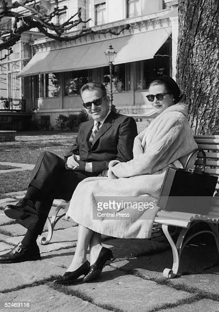 Prince Rainier of Monaco and his wife Princess Grace take the sun outside their hotel in Lausanne during a springtime holiday in Switzerland 14th...