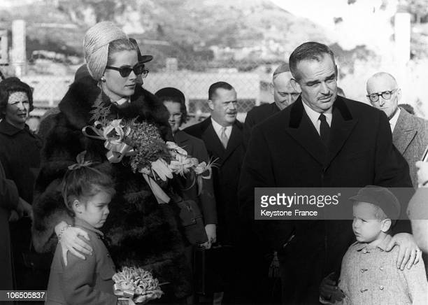 Prince Rainier Princess Grace Prince Albert And Princess Caroline At The Opening Act Of The KartClub Of Monaco On November 19Th 1962